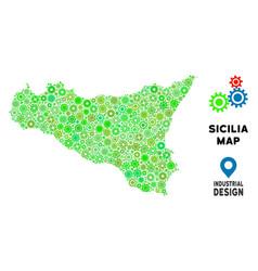 Gears sicilia map mosaic vector
