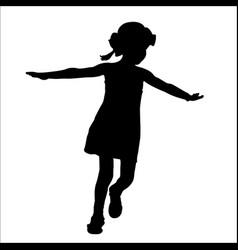 girl in summer hat run silhouette vector image