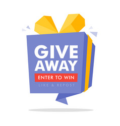 Giveaway enter to win poster template design vector
