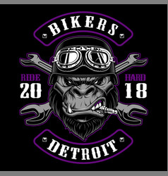gorilla biker with crossed wrenches vector image