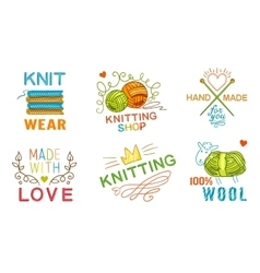 Hand Made Knit Logo Set vector