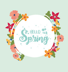 happy spring round lettering flowers border vector image