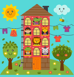 homecute animals in home vector image