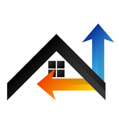 house air conditioner and arrows vector image
