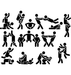 ICON MAN VARIOUS POSITIONS vector image