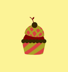 In flat style cherry cupcake vector