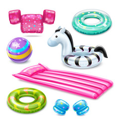 Inflatable swimming accessories for kids vector