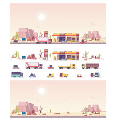 isometric low poly filling station vector image