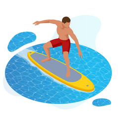 isometric summer surfer surfer on blue ocean wave vector image