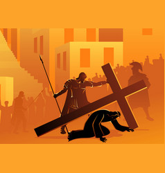 jesus falls for second time vector image