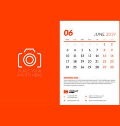 June 2019 desk calendar design template with vector