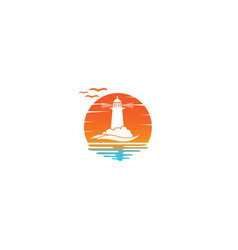 lighthouse on island middle sea vector image