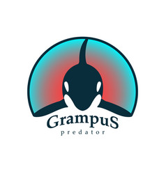 Logo grampus whale isolated white background vector