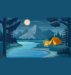 mountain night camping cartoon forest landscape vector image