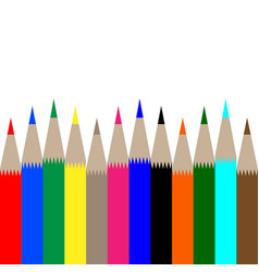 multicolored pencils on white background vector image