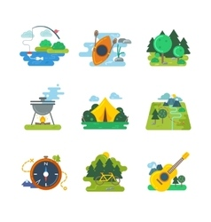 Nature outdoor and forest activities flat vector