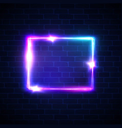 Neon sign square frame on dark brick texture wall vector