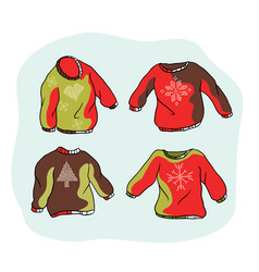 nordic christmas jumper clipart set hand drawn vector image