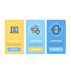 oneboarding app screens cards data security set vector image