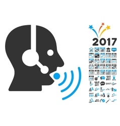 Operator Talking Sound Waves Icon With 2017 Year vector