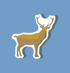 Paper sticker on stylish background deer vector