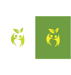 people leaf nature logo vector image