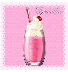 Pink smoothie in glass vector