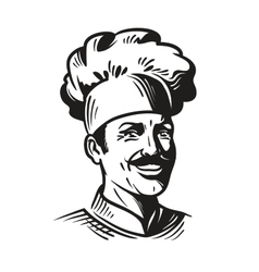 Portrait happy chef in hat and mustache Smiling vector