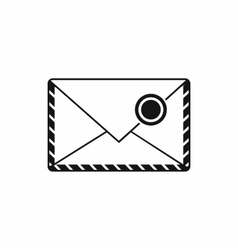 Postage envelope with stamp icon simple style vector image
