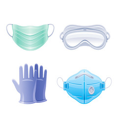 Ppe icon set corona virus covid 19 protect vector
