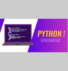 Program code on laptop screen banner flat vector