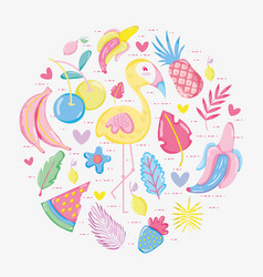 Punchy pastel flemish and fruits vector