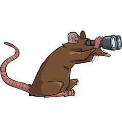 rat looking through binoculars vector image vector image