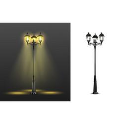 realistic street lights composition set vector image