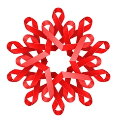 Red awareness ribbons made into flower over white vector