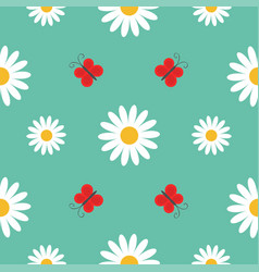 red butterfly insect white daisy chamomile cute vector image