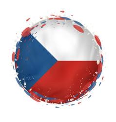 Round grunge flag czech republic with splashes vector