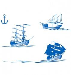 Sail ships vector