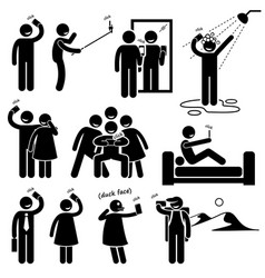 Selfie stick figure pictogram icons a set of vector