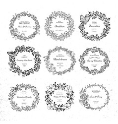 set beautiful wreath vector image