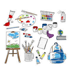 set doodle school stationery on white background vector image