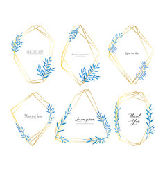 set geometric frame with leaves watercolor vector image