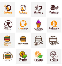 set of food emblem design food logo template vector image