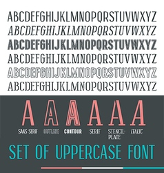 Set uppercase narrow font vector