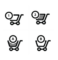Shopping cart icons and bubble talk vector
