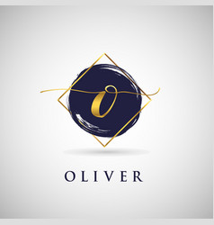 Simple elegance initial letter o gold logo type vector