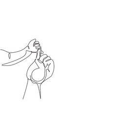 Single continuous line drawing parent hands vector