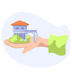 small countryhouse on hand vector image