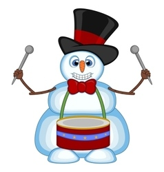 Snowman playing drums wearing a hat and a bow ties vector