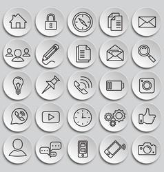 social communication set on plates background vector image